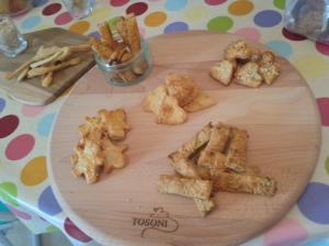 Cheddar cheese & mustard men and puff pastry straws
