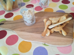 Mackerel pate with bread spoons