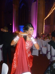 Beautiful bride enjoying her cake!